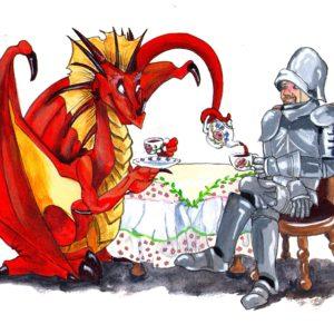 Knight and Dragon at Tea