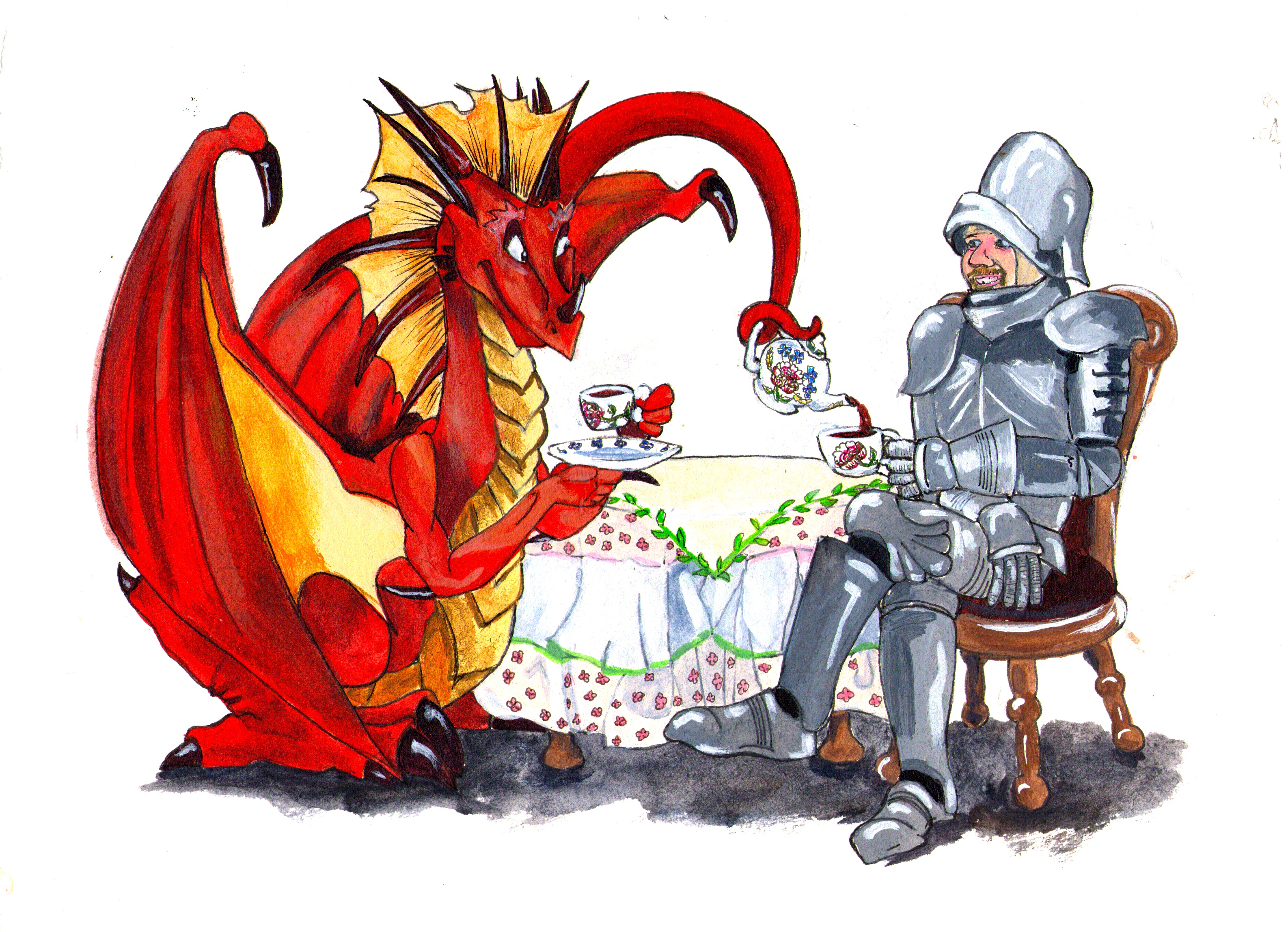 Dragon and knight at tea print